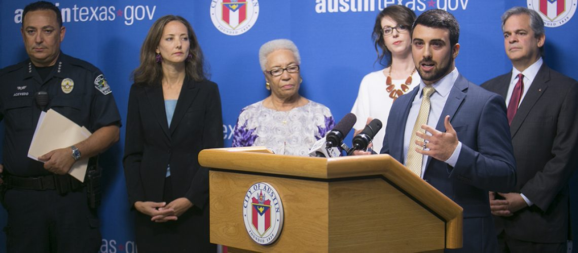 Member of Allies Against Slavery along with Mayor Steve Adler, City Councilwomen  Ora Houston, Ellen Troxclair, and Kathie Tovo, and Austin Chief of Police Art Acevedao stand in support of John Lehme, President & CEO of Allies Against Slavery in passing a